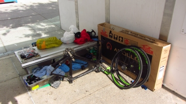 Unpacking the bike at the Brisbane airport